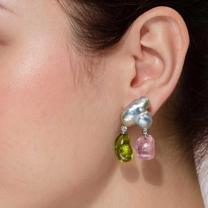 Baroque Keshi Pearl Earrings with Peridot and Pink Tourmaline Double Drops