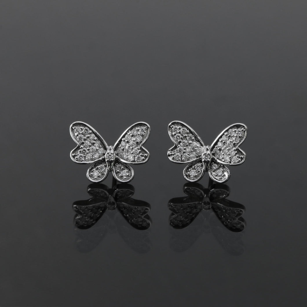 White Gold Diamond Pave Butterfly Earrings