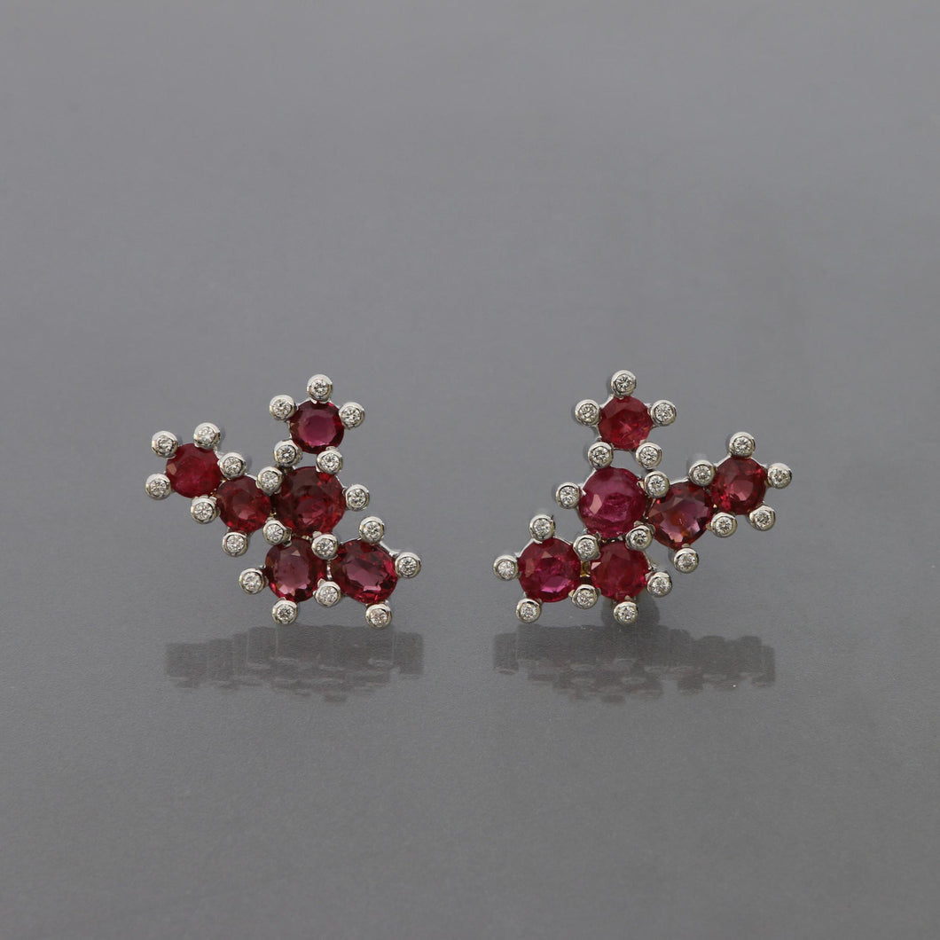 Red Spinel Succulent Earrings