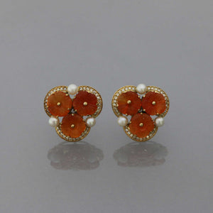 Carnelian Flower Earrings in Gold