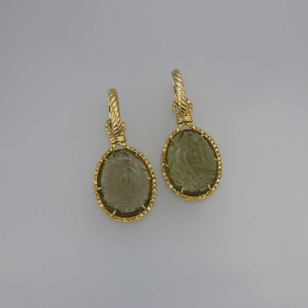 Carved Olive Quartz Cabochon and Yellow Diamond Danglers with Rope Hoop Earrings Detail