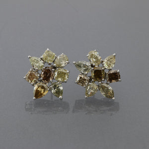 Fancy Colored Diamond Cluster Earrings