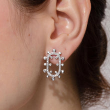 Load image into Gallery viewer, Ellipse Snowflake Diamond Earrings