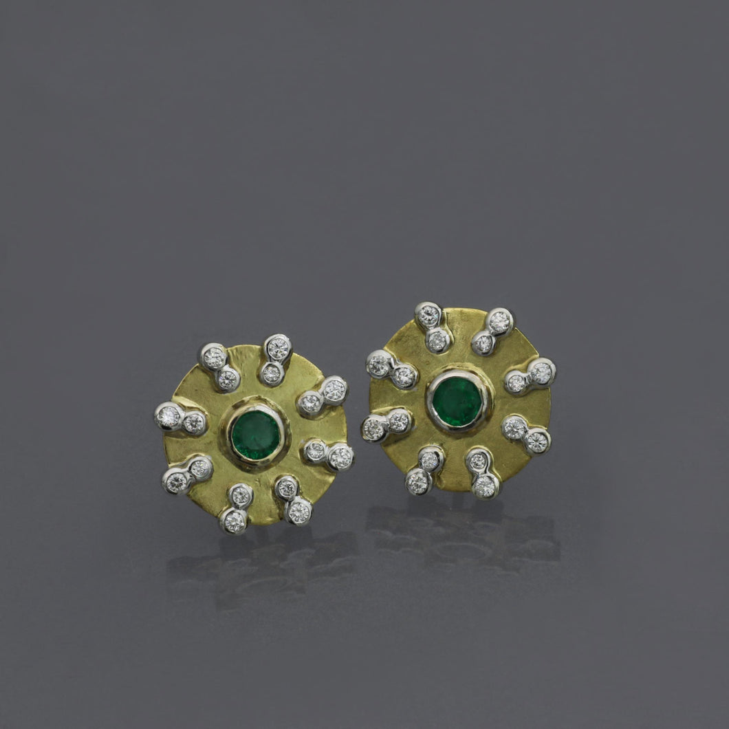 Emerald Disc Earrings