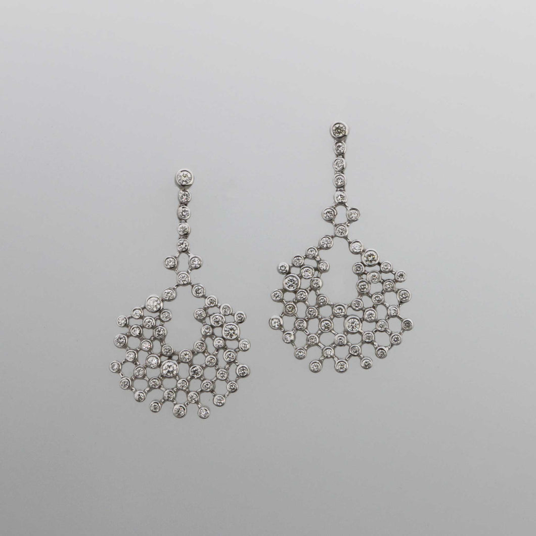 Diamond Bezel Lace Drop Earrings in White Gold