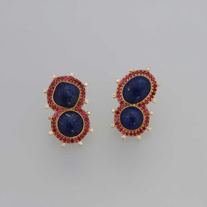 Lapis Lazuli and Red Spinel Pave Mismatched Earrings in Rose Gold
