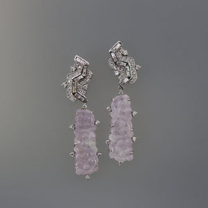 Round and Baguette Diamond Earrings with Lavender Jade Drops