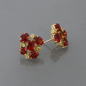 Vivid Orange Sapphire and Yellow Diamond Cluster Earrings