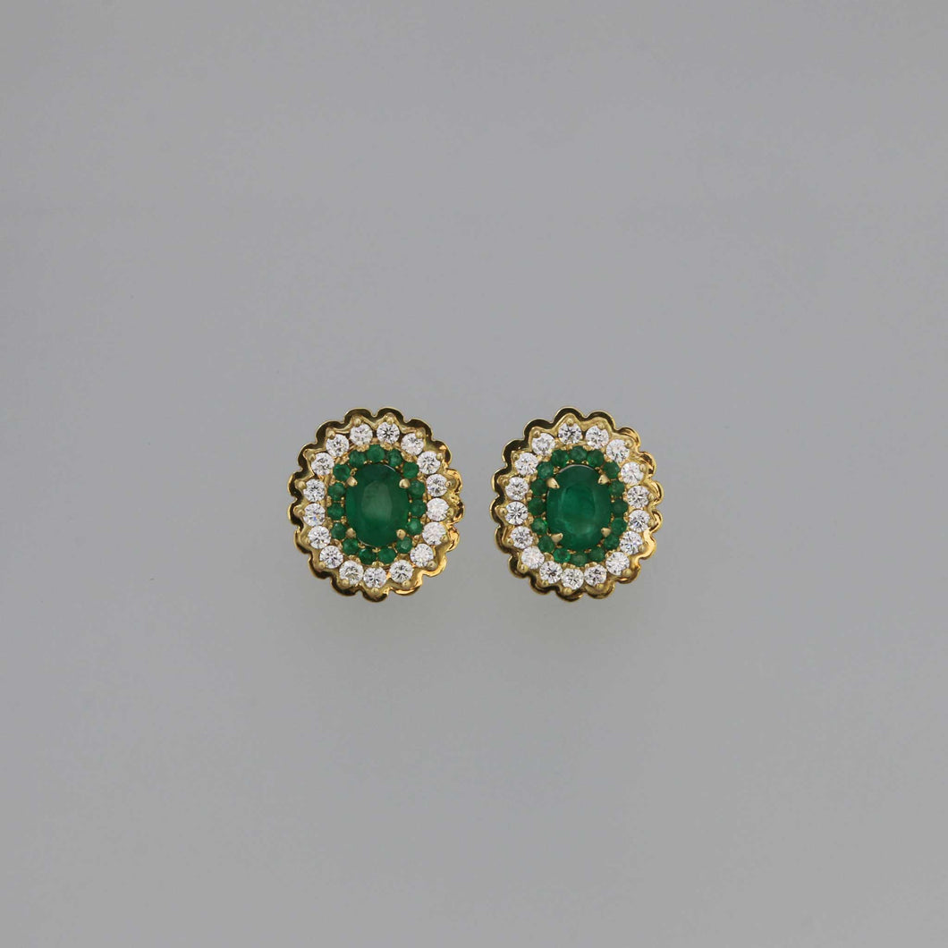 Zambian Emerald Double Layer Pave Earrings in Gold