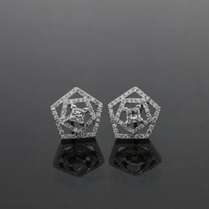 Pentagon Princess Cut Diamond Earrings