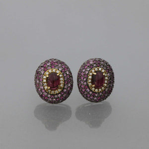Pink Tourmaline Dome Earrings