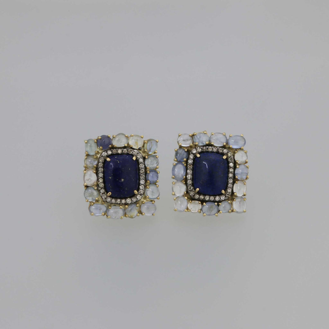 Lapis Lazuli and Pastel Colored Sapphire Cabochon Earrings in Gold with Cognac Diamond Pave