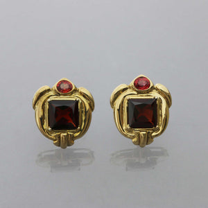 Garnet and Orange Sapphire Repousse Earrings
