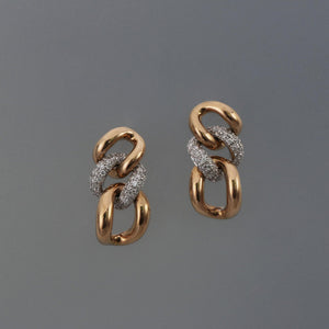 Rose Gold Chain Link Pave Earrings