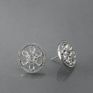 Oval Rose Cut Sapphire Pave Earrings