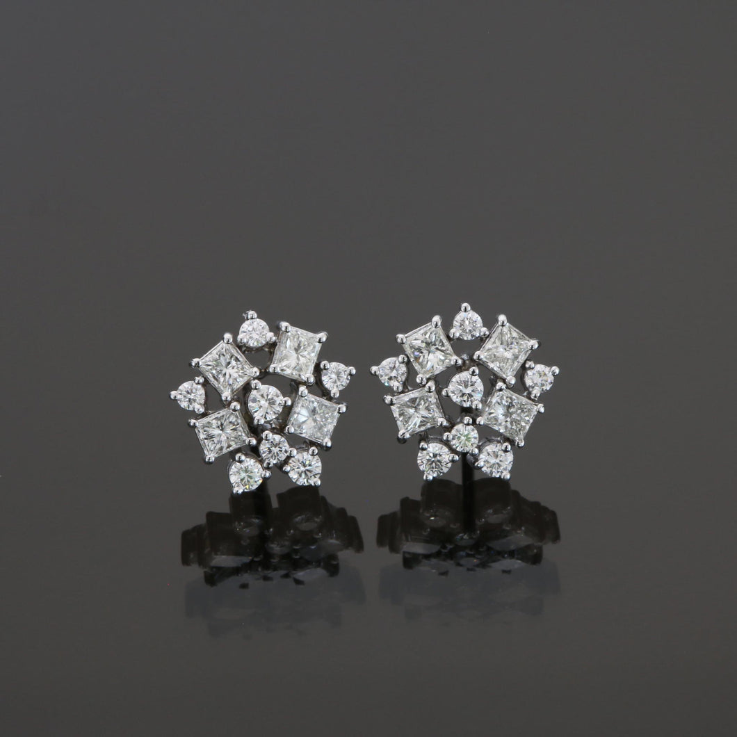 Round and Princess Cut Diamond Cluster Earrings