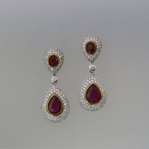 Ruby Dome Pave Drop Earrings