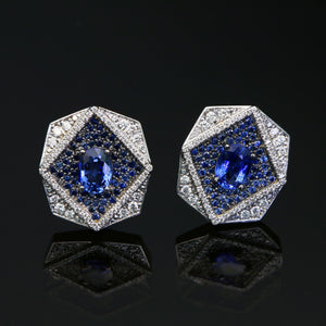 Octagon Blue Sapphire and Diamond Pave Earrings