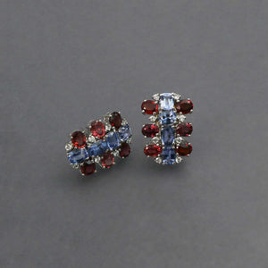 Red Spinel and Cornflower Blue Sapphire Earrings in White Gold