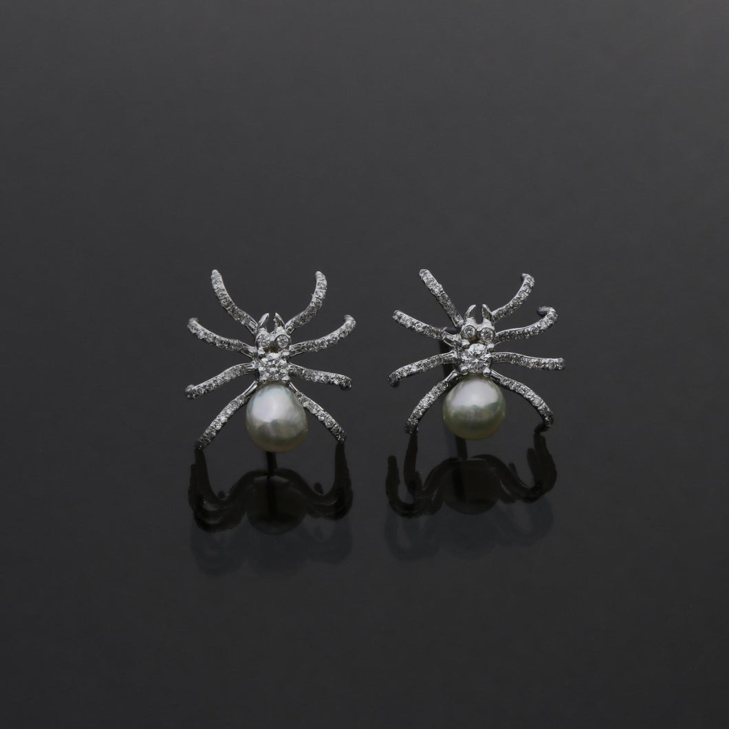Spider Earrings with Diamond Pave Legs