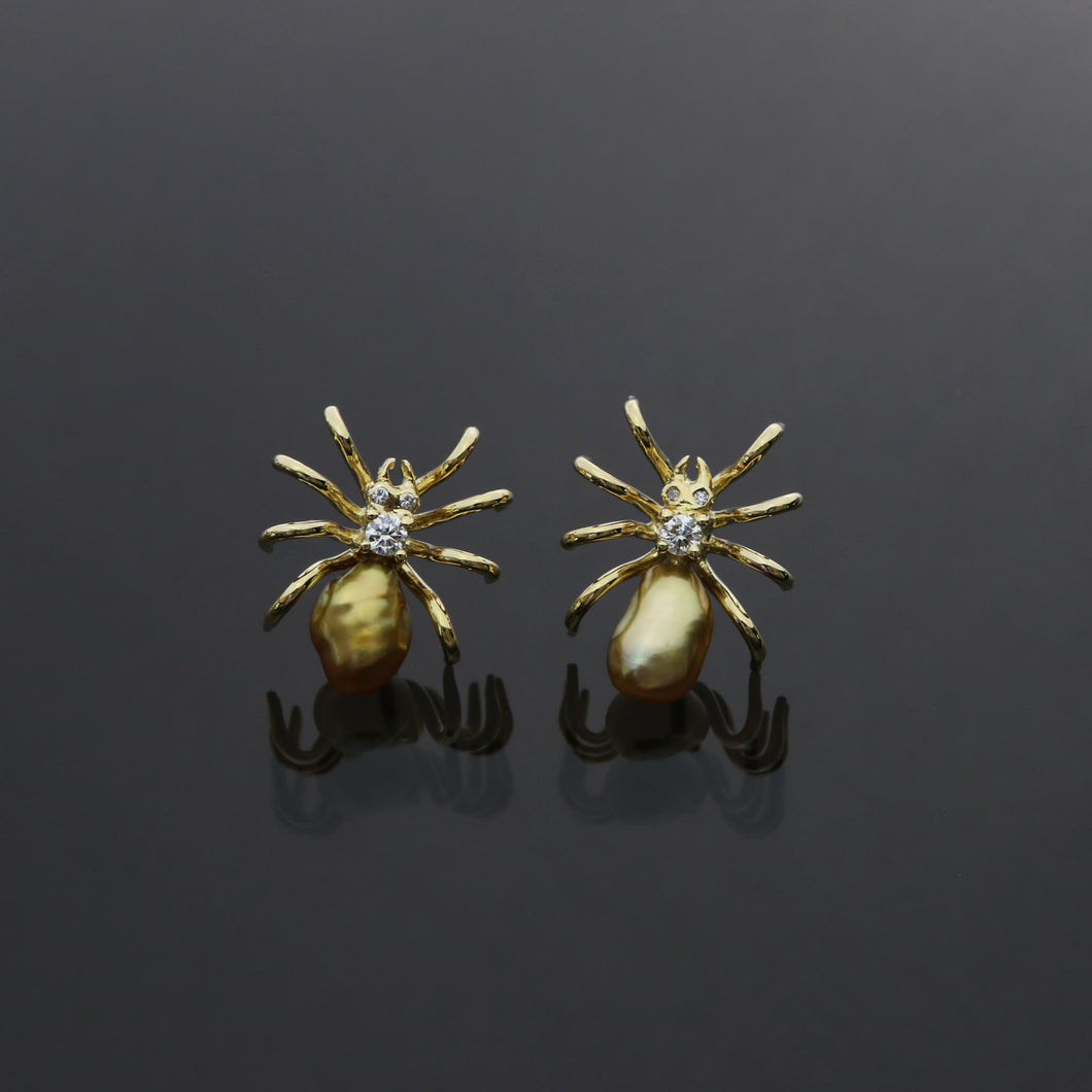 Golden Keshi Spider Earrings