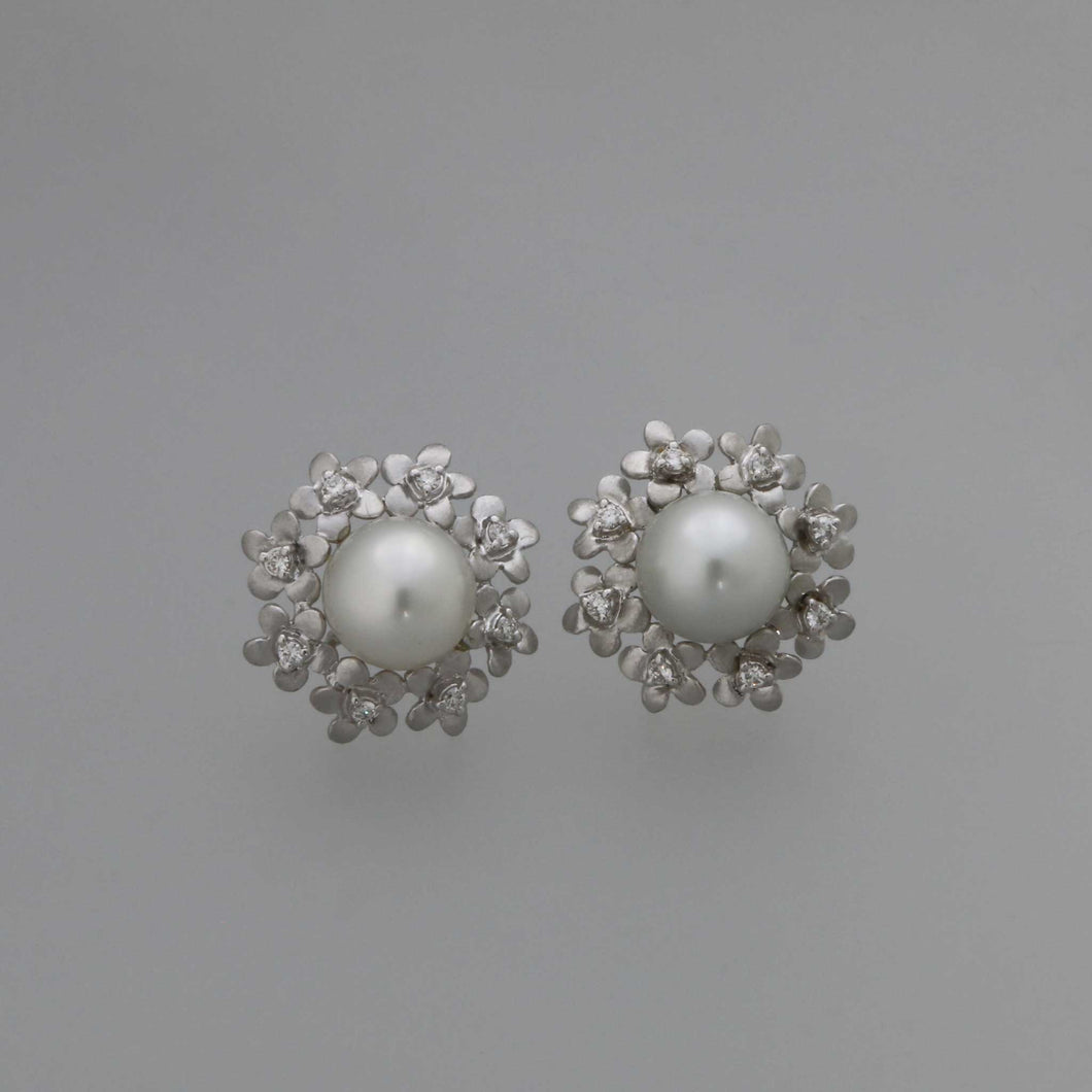 South Sea Pearl with Flower Cutout Frame Earrings