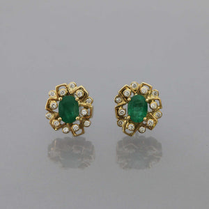 Zambian Emerald Assymetric Earrings with Bezel Set Diamonds