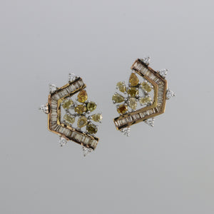 Natural Fancy Colored Diamond D Fragment Rose Gold Earrings