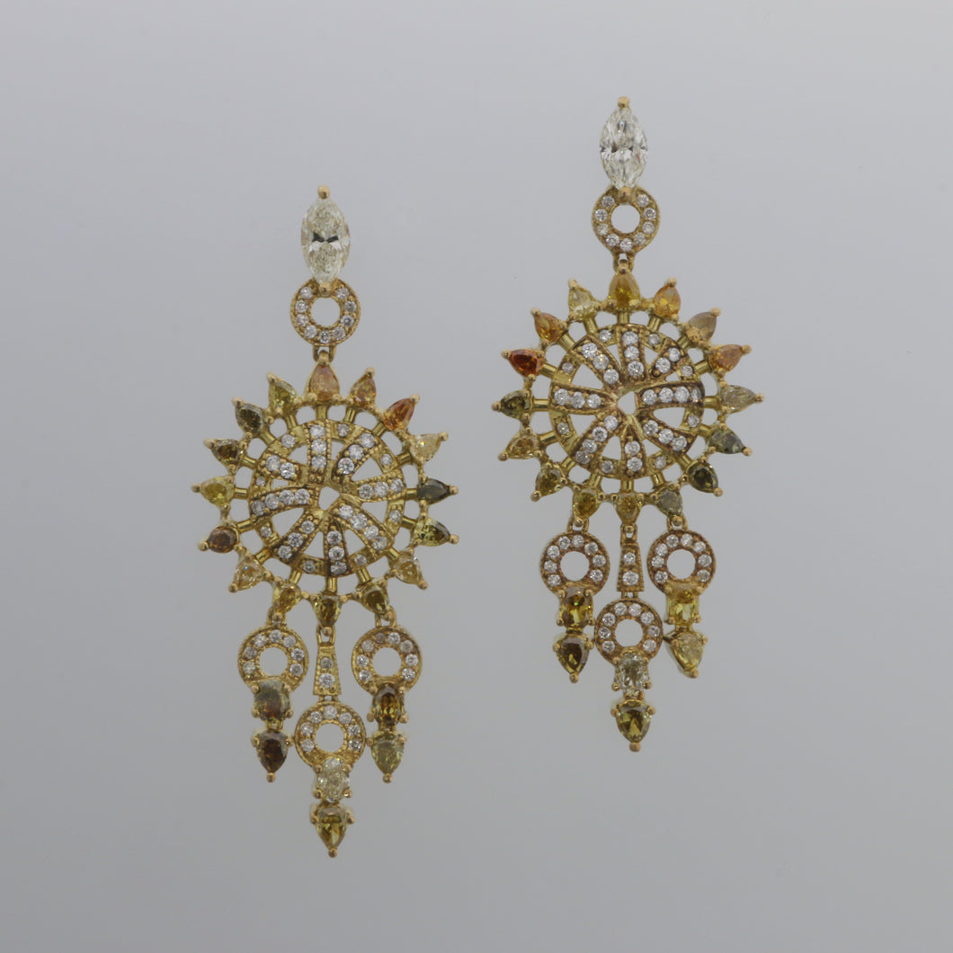 Natural Fancy Colored Diamond Dreamcatcher Drop Earrings in Yellow Gold