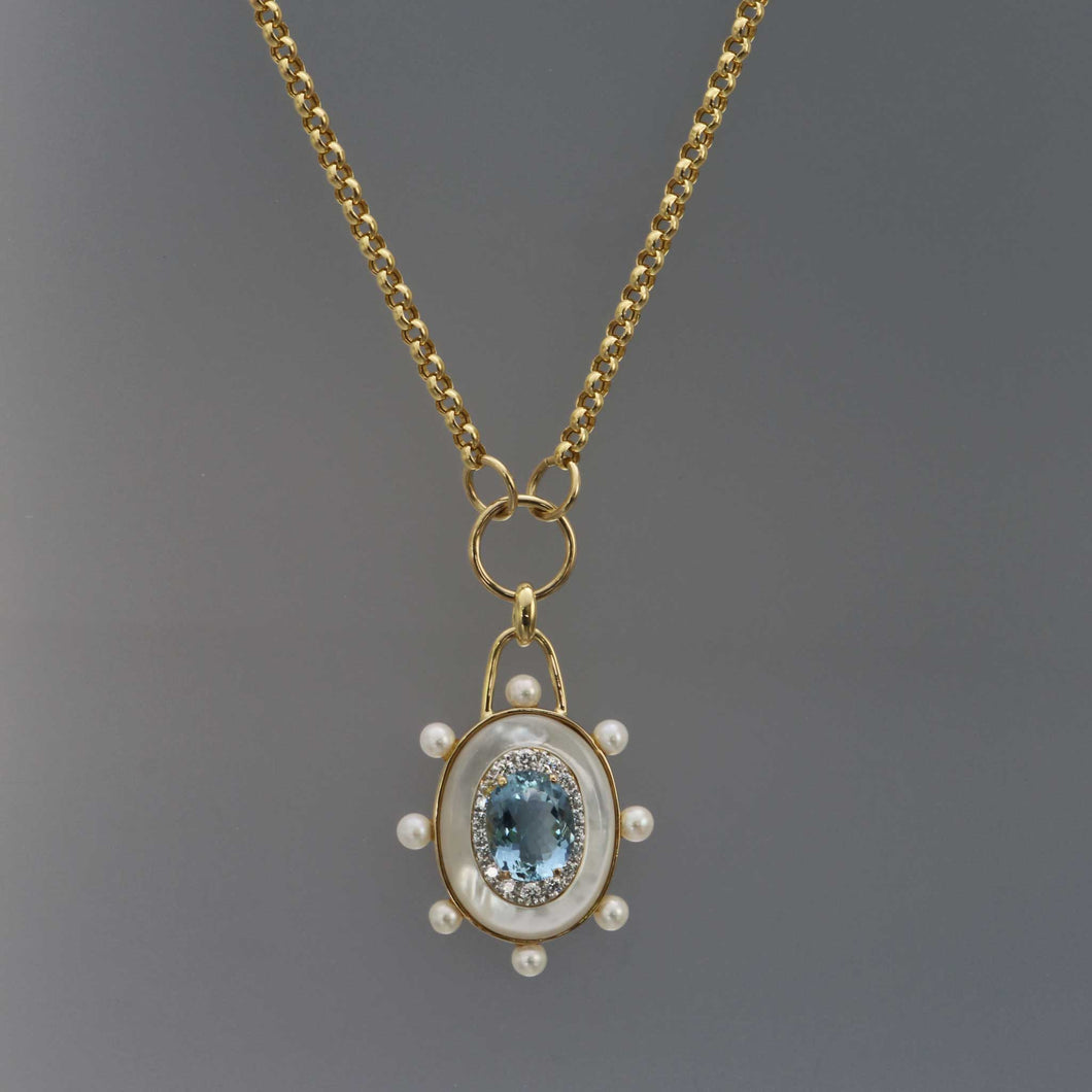 Aquamarine and Mother of Pearl Inlay Necklace