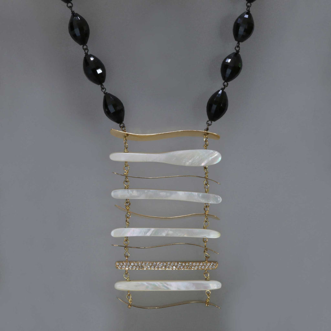 Bib Necklace of Mother of Pearl and Spinel