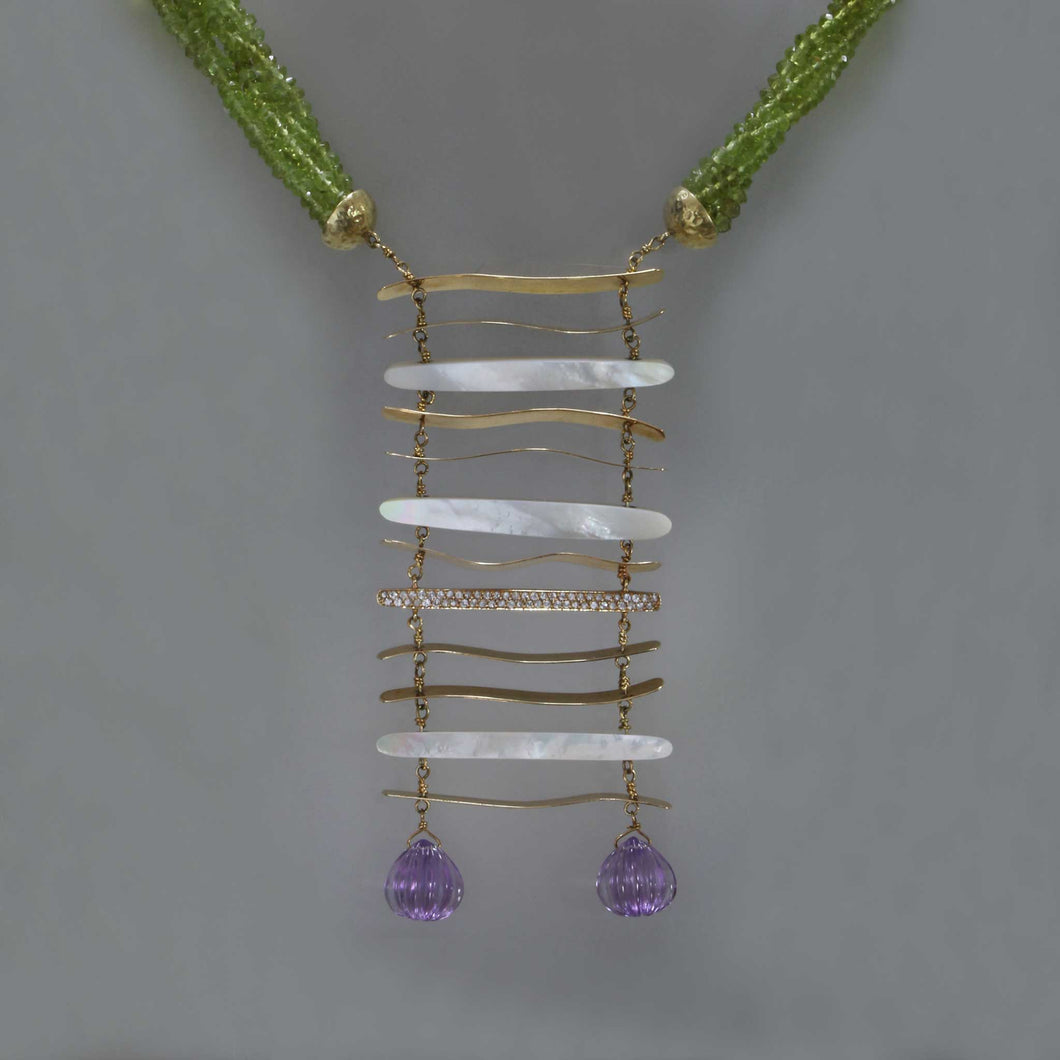 Bib Necklace of Mother of Pearl and Peridot