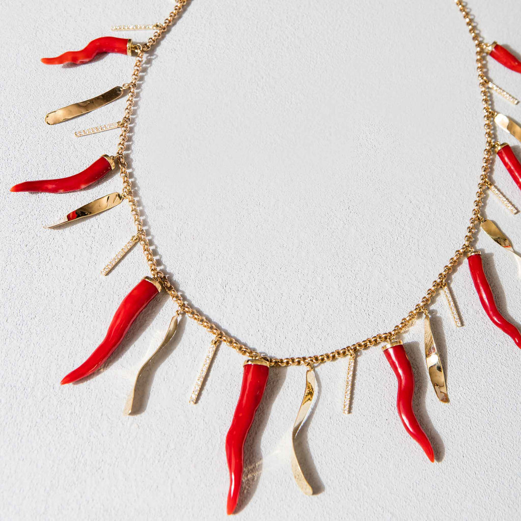 Sardinian Coral and Gold Laver Necklace