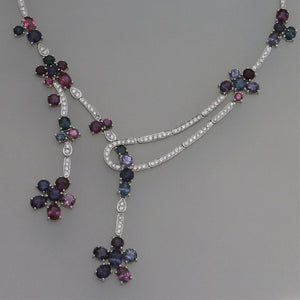 Multi Colored Spinel and Diamond Offset Deco Necklace in White Gold