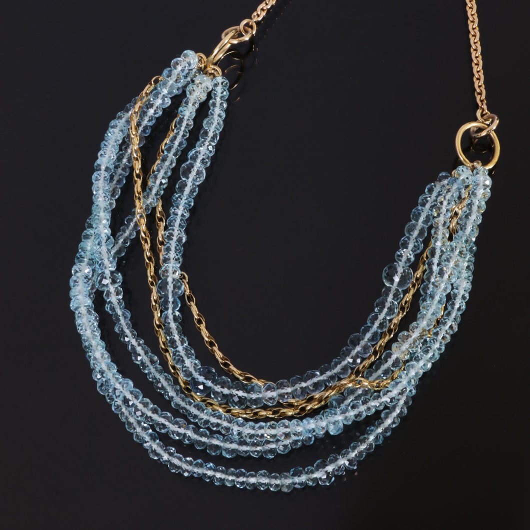 Multi Layer Aquamarine Bead Necklace