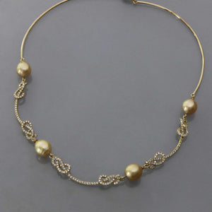 Golden South Sea Pearl Knot Pave Collar