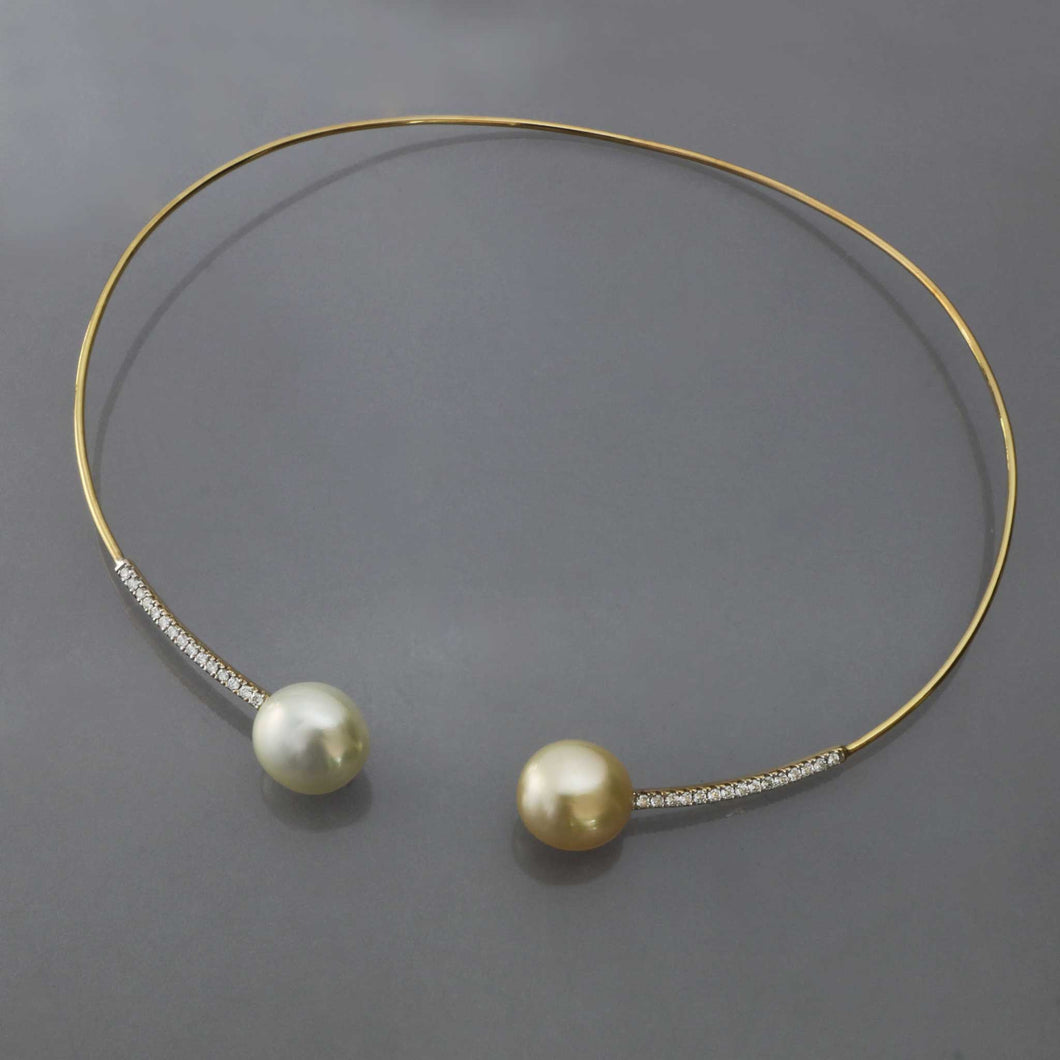White and Champagne South Sea Pearl Gold Collar