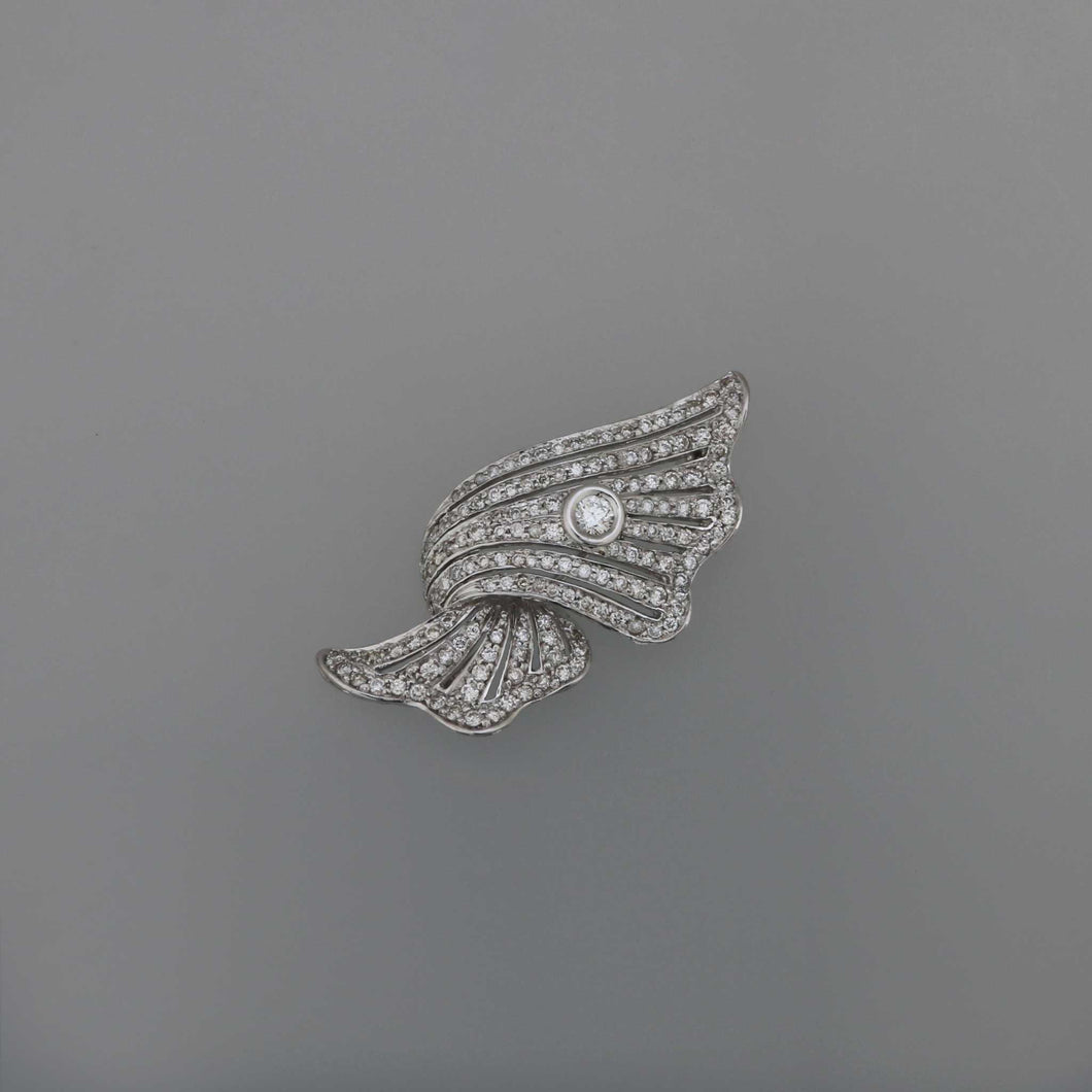 Art Deco Ribbon Wave Diamond Pave Brooch
