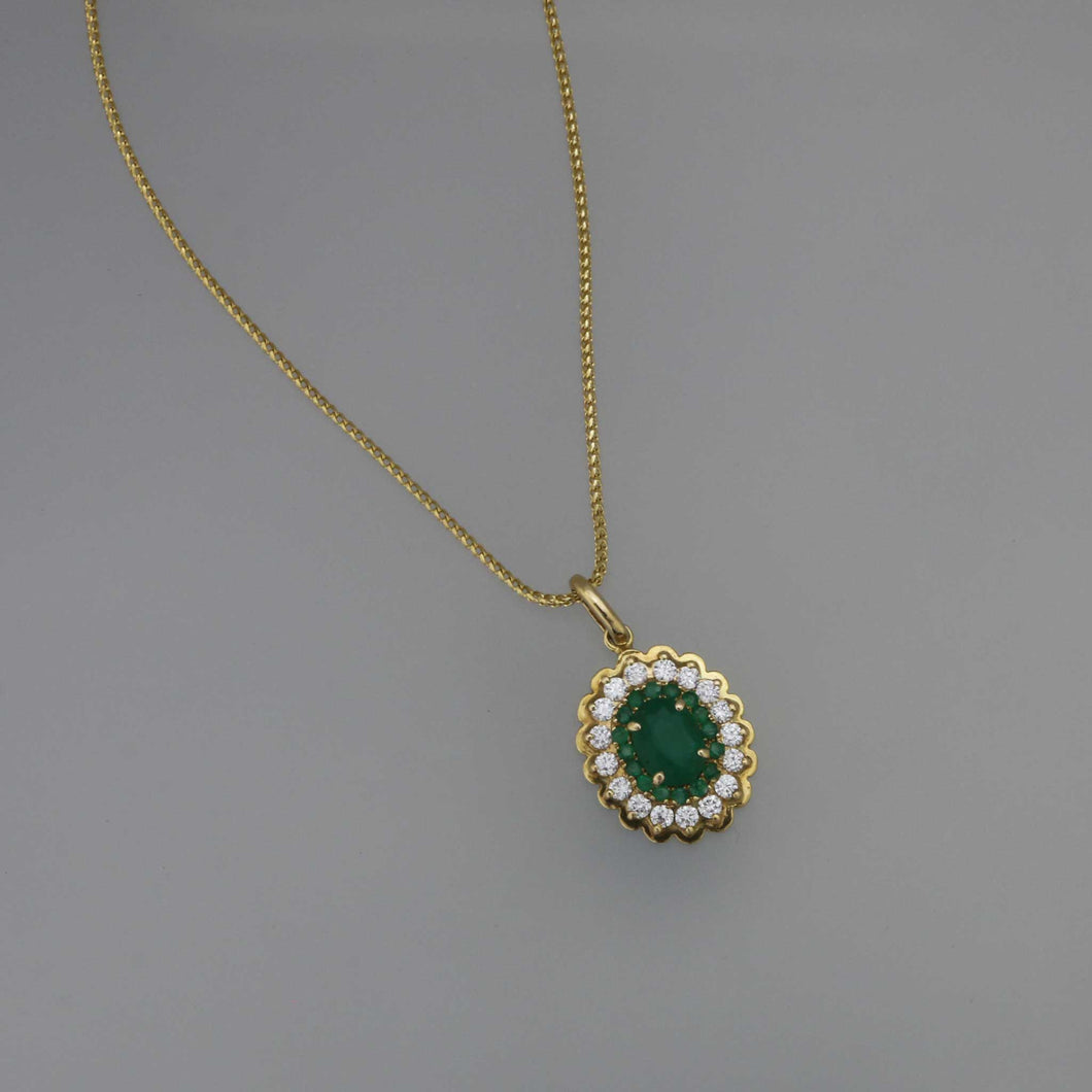 Zambian Emerald Double Layer Pave Pendant in Gold