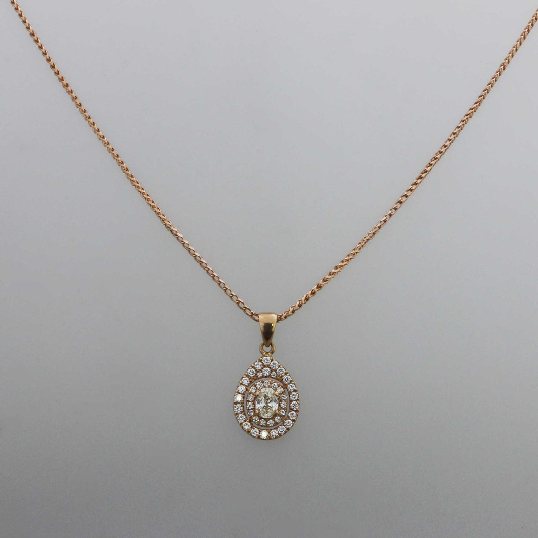 Double Layer Pear Pave Pendant with Oval Brilliant Center Stone in Rose Gold