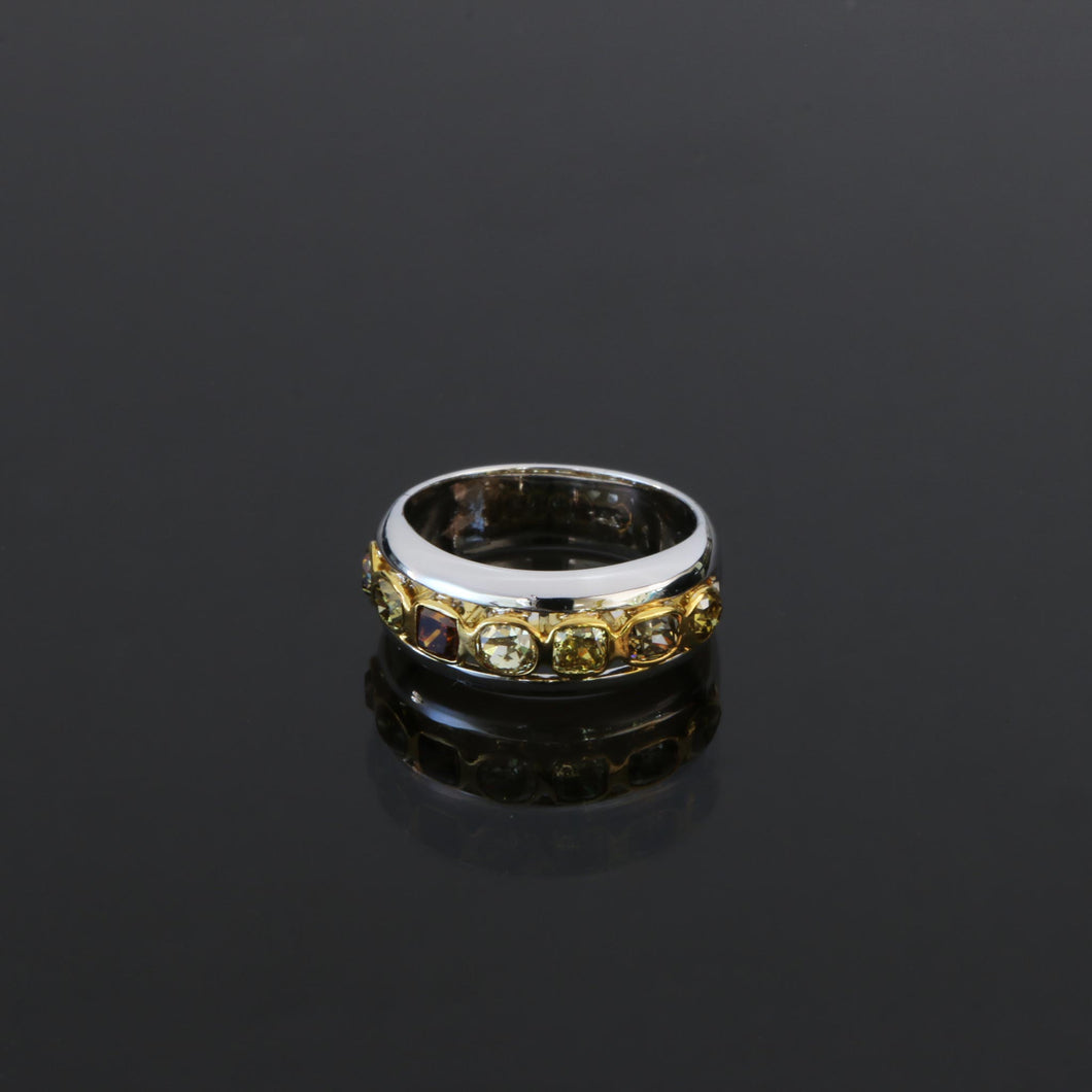 Bezel Set Fancy Colored Diamond Ring