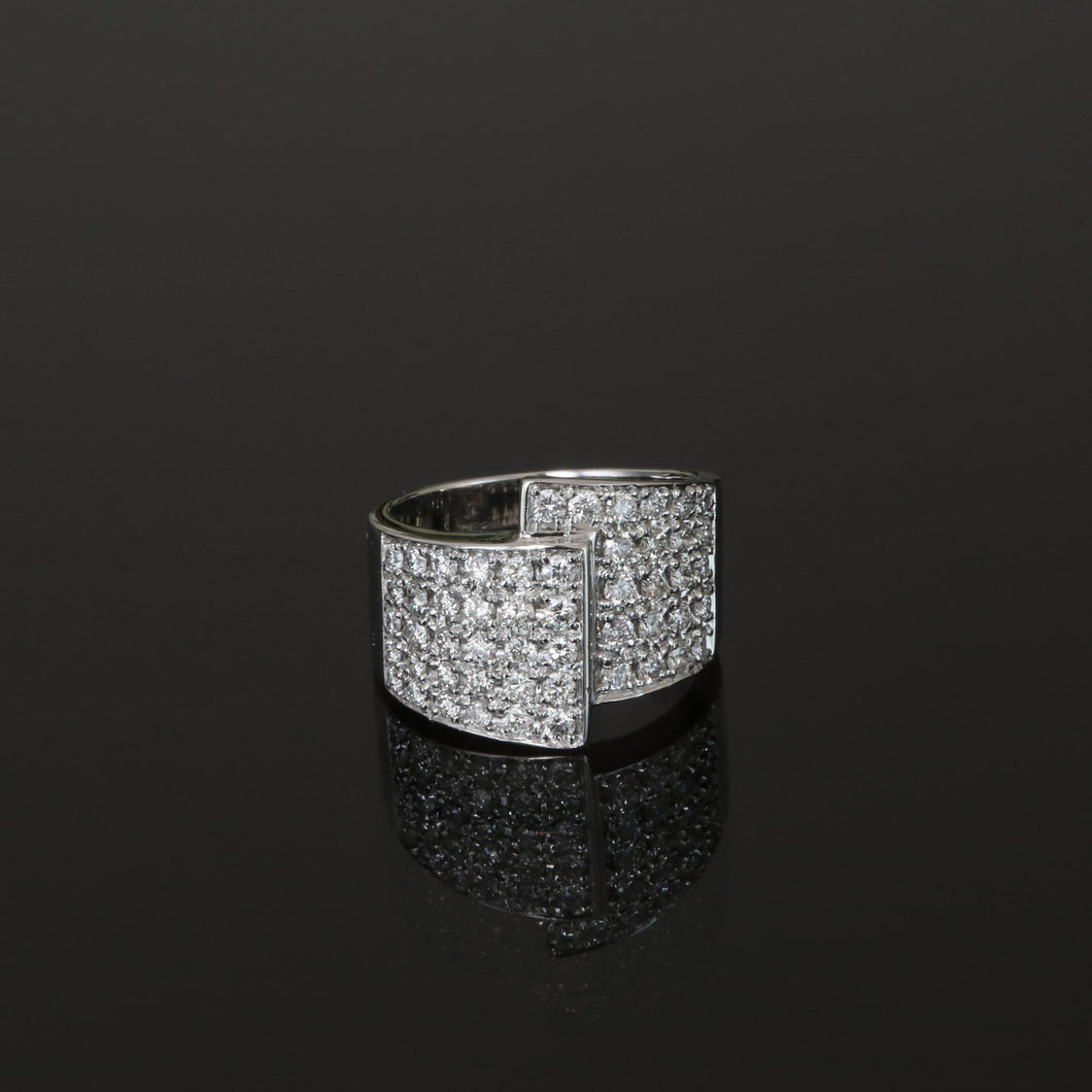 Diamond Pave Overlap Ring in White Gold