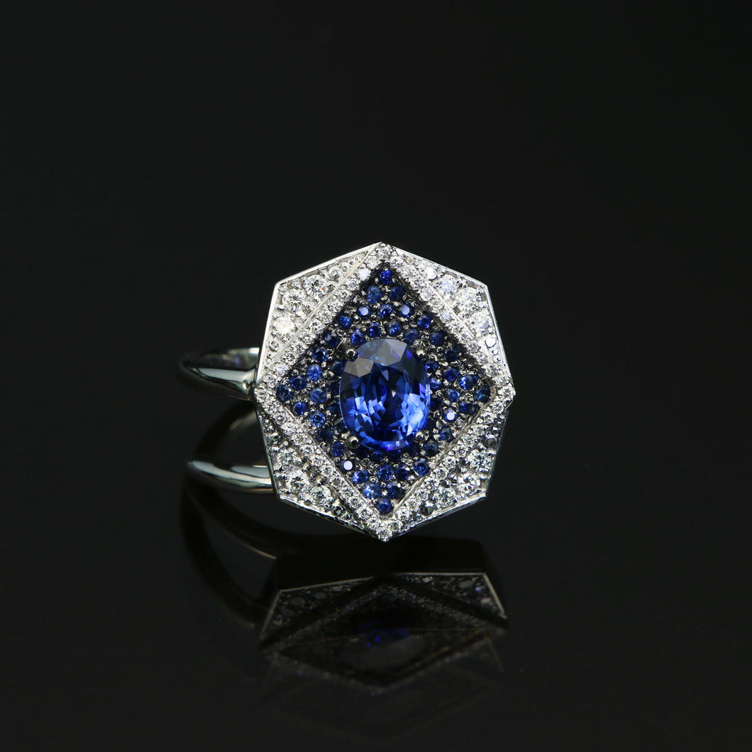 Octagon Blue Sapphire and Diamond Pave Ring