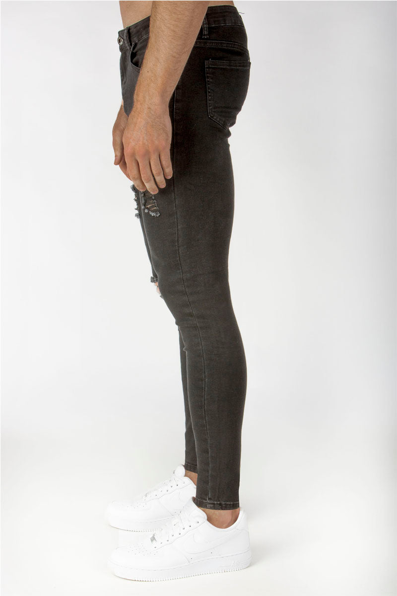 Distressed Spray Jeans - Black