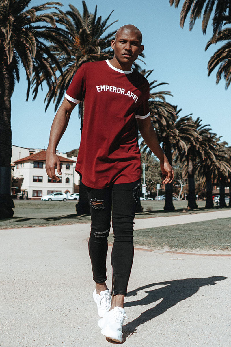 Men's Emperor Apparel Gio Scoop T-Shirt Maroon available worldwide.