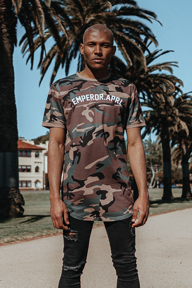 Men's Emperor Apparel camo gio scoop t-shirt available online worldwide