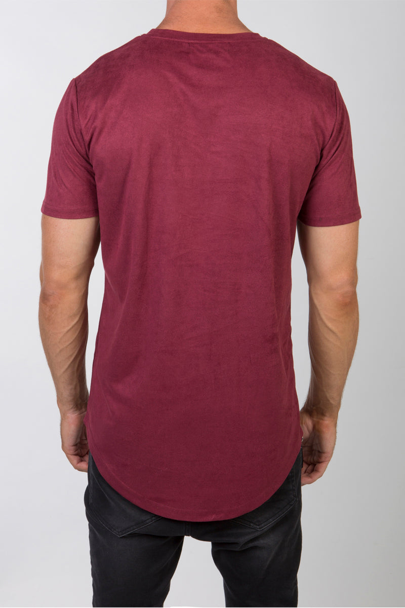 Luxe Suede T-Shirt (Maroon)
