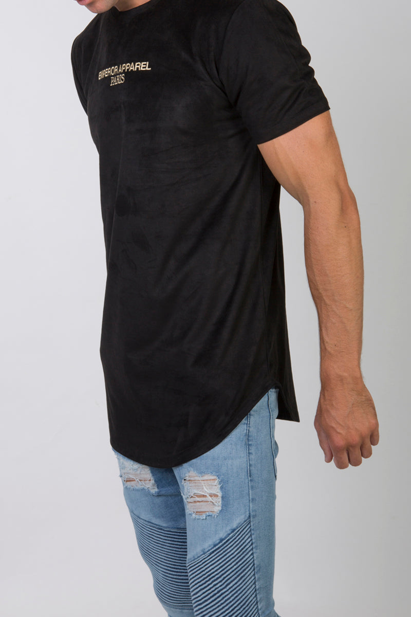 Luxe Suede T-Shirt (Black)