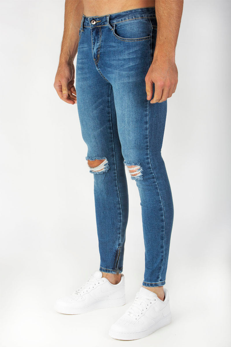 Spray Jeans (Indigo) - Ripped