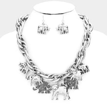 Load image into Gallery viewer, Cluster Elephant Necklace and Earring Set
